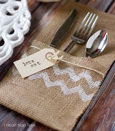 Burlap on the Thanksgiving Table Dining Inspiration // use that leftover burlap for these @Michelle Shott