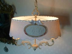 lustre bouillotte patine lin abat-jour monogramme LM