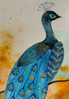 Peacock Original Painting Watercolor Gouache by CelineArtGalerie