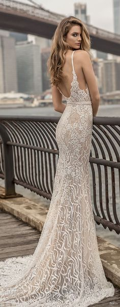 berta spring 2018 bridal spaghetti strap deep plunging sweetheart neckline full embellishment sexy elegant fit and flare wedding dress open scoop back chapel train (6) bv -- Berta Spring 2018 Wedding Dresses