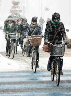 Winterwetter in der dänischen Hauptstadt: Geradelt wird immer.