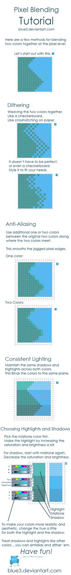 Pixel Blending + Shading Tips by BluE3.deviantart.com on @deviantART
