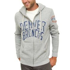 Junk Food Denver Broncos Sunday Full Zip Hoodie - Ash