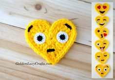 Surprise Face Crochet Emoji , free #crochet pattern, Valentines, Heart shaped- Goldenlucycrafts