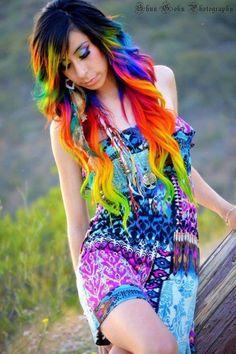 Rainbow tipped hair.