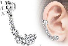 Mid ear cuff, steel and CZ  www.filigreenyc.com