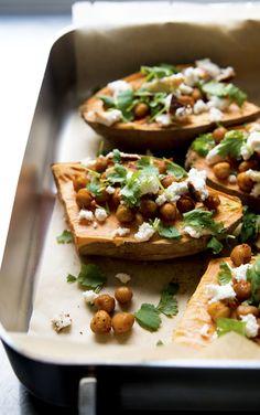 Sweet potato with almond feta, spicy chickpeas & coriander