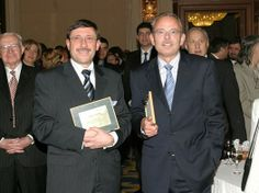 A memorable picture from 2002 or 2003 when our CEO Maxim Behar was awarded as Mr. Economy together with the then CEO of Westdeutsche Allgemeine Zeitung in Bulgaria Peter Imberg by the Economy magazine, in his capacity of CEO of Communications Group, Inc. Turning 20, Bulgaria, Awards, How To Memorize Things, Suit Jacket, Magazine, Group, Pictures, Fashion