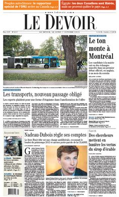 Le Devoir Montreal diario periódico portada Canadá Newspaper Layout, News Design, Layouts, Montreal Canada, October, Daily Journal, Antigua, Canadian Horse, Beginning Sounds