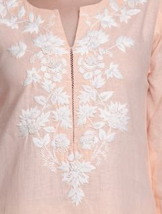 Buy Peach Floral Embroidered Linen Kurta Women Kurtas Roots Hand Cotton Apparel Online at Jaypore.com