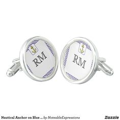 Nautical Anchor on Blue Stripe Wedding Cuff Links