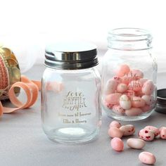 Personalized Love Laughter Mini Mason Jars