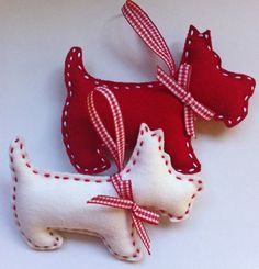 Scottie dog is made out of wool felt, cut and stitched by hand, and filled with polyester filling.    Hang them on your Christmas tree or use them as a baptism favor.    It measures approximately 13x10 cm.    Standard set comprises of a red and ivory bunny.    Special arrangements can be made to accommodate your colour preferences    Im always happy to help!    Please note that this item is designed as a decoration, not a toy.    Shipped via registered mail from the Hellenic Postal Service…