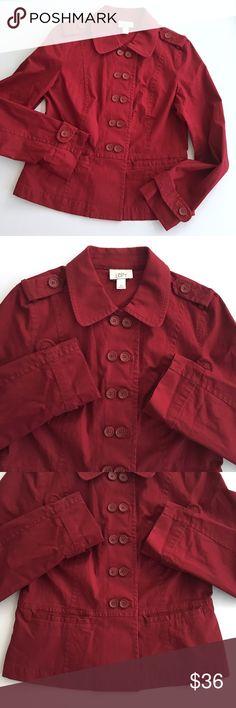 "❤VDAY!❤ LOFT Maroon Peacoat with Buttons G1 LOFT Maroon Peacoat with Buttons // Sz M // 97% cotton, 3% spandex // has a little bit of stretch // 19"" across armpits // 28.5"" sleeves // 23.5"" length // 1p1.4o 2.11.36.992 // Bundle Discounts! LOFT Jackets & Coats Pea Coats"