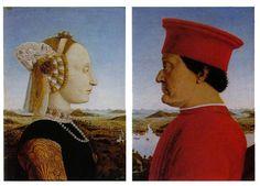 Portrait of the Duke and Duchess of Montefeltro - Piero della Francesca (seen at the Uffizi in Florence, Italy) Finally saw it