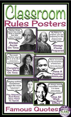 Class rules posters: famous quotes schulkram – Get your students' attention with these unique back-to-school classroom rules posters. Each of the 6 posters include a quote from a famous person which relates to a classroom rule. Class Rules Poster, Classroom Rules Poster, Social Studies Classroom, Middle School Classroom, Teaching Social Studies, Future Classroom, Bulletin Board Ideas Middle School, 6th Grade Social Studies, Posters Escolares