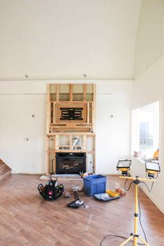 One Room Challenge {Week Three}: Fireplaces, Painting, and Repainting – Living room Reface Fireplace, Build A Fireplace, Fireplace Mantels, Stacked Stone Fireplaces, Brick Fireplaces, Built In Electric Fireplace, Farmhouse Plans, Traditional House, Decoration