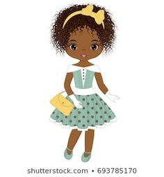 Illustration about Vector cute little African American girl in retro style. Pin-up little girl vector illustration. Illustration of childhood, digital, image - 97799443 Paper Doll Costume, Paper Dolls, Ful Image, Black Betty Boop, Black Girl Art, Black Art, Girl Birthday Cards, Afro Girl, African American Girl