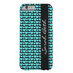 Cute iPhone Case, Aqua & White Hearts on Black, personalize with your name on the matching black ribbon down the side.