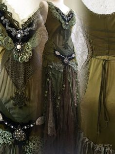 Woodland fairy dress , Green forest dress , nature  , army , woodland clothing , handmade , party dress , tattered boho dress, fairy dress