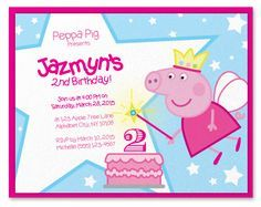 Peppa Pig Fairy invitation, small card, DIY printable, just request a file and print at home. A2 Envelope size. There's also a birthday name banner to match the invitation.