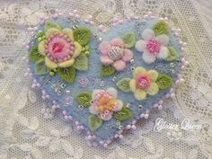 Felt+flower+heart+pin+/+brooch+by+GlosterQueen+on+Etsy,+$27.00