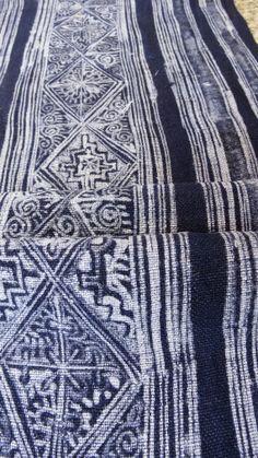 Handwoven Hmong Hemp, Vintage fabric, Batik hemp textiles and fabrics- Table runner,