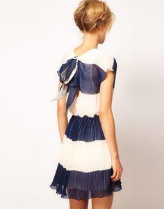 :ASOS Stripe Skater Dress With Pleated Skirt