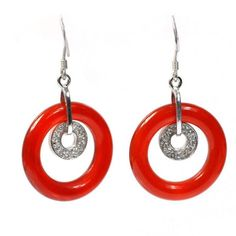 De Buman Sterling Silver 16.9ctw Red Agate and Cubic Zirconia Earrings