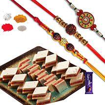 Anjir Dryfuit Katli Sweets with Set of 03 Rakhis