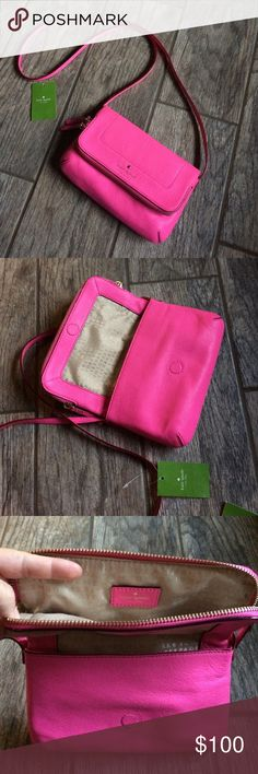 """Kate Spade Mansfield Crossbody Be pretty in pink!  cross body bag with magnetic flap closure exterior zip flap pocket with two-way zippers care card + original tag soft pebbled cowhide leather with matching trim and gold plated hardware Strap drop 21"""", Bag length 8.7"""", Bag height 5.3 Please refer to pic 4, has some discoloration on bottom right. kate spade Bags Crossbody Bags"""