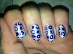 Pueen plate 04.  Orly Wild Wisteria stamped over Layla Hologram Effect Mercury Twilight