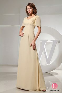 Custom comfotable long chiffon v-neck mother of the bride dress