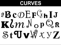 Curves Alphabet Set: More curly letters. Each letter is a different font and size.