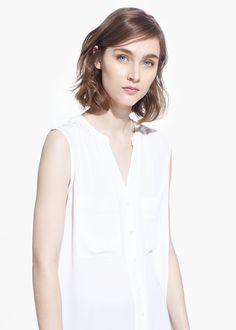 Chest-pocket chiffon blouse