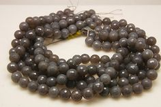 1strand  natural gray agate micro facetd ball 12mm by 3yes on Etsy