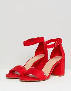 Bershka | Bershka two part block heel sandals in red