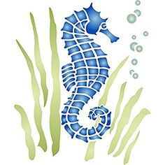 Seahorse Stencil (size x Reusable Sea Ocean Nautical Seashore Reef Stencils for Painting - Use on Paper Projects Walls Floors Fabric Furniture Glass Wood etc. Stencil Animal, Stencil Painting, Ocean Projects, Large Stencils, Beach Stencils, Wholesale Crafts, Idee Diy, Sea And Ocean, Stencil Designs