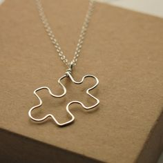 Puzzle Piece Necklace . sterling silver puzzle by RanolaSg on Etsy