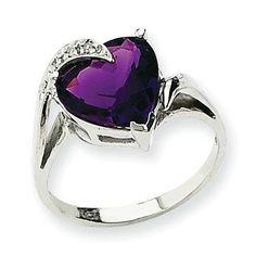 ) to Solid White Gold Amethyst & Diamond Engagement Wedding Ring cttw. Amethyst And Diamond Ring, Amethyst Jewelry, Purple Diamond, Purple Amethyst, Diamond Heart, Cute Jewelry, Jewelry Accessories, Jewlery, Gold Jewellery