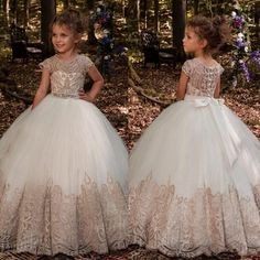 2017 Lovely Lace Appliques Flower Girl Dresses for Weddings Short Sleeves Jewel First Holy Communion Dresses Floor Length Custom Made cheap Pageant Wear, Girls Pageant Dresses, Gowns For Girls, Prom Gowns, Bridal Gowns, Cute Flower Girl Dresses, Mermaid Dresses, Little Girl Dresses, Flower Girls