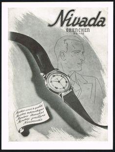 Vintage 1947 Nivada Wrist Watch Mid Century Modern Art Print Ad. #nivada #grenchen #swiss #watch #watches #vintage #ads #stawc