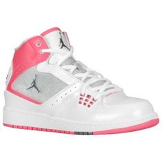 Jordan 1 Flight Mid - Girls' Grade School - White/Metallic Platinum/Dynamic Pink