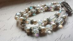 Crystal and Pearl Bracelet, Bridal Bracelet Vintage crystals and clasp by Tootsiejos, $75.00