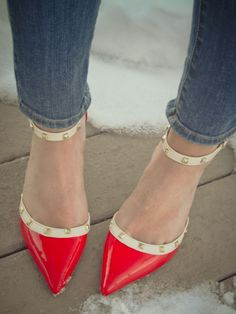 Red & Nude Studded Pumps ♥ Recently, I've really gotten into the pointy-toed heels!