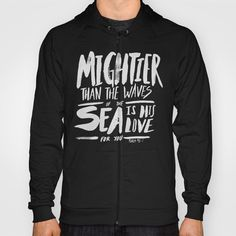 Christian Bible Verse -Mightier than the Sea HOODY UNISEX ZIP TRI BLACK SMALL BACK PRINT ZIP.Organic Fine Jersey T-shirts are made with 100% USDA Certified Organic cotton combed for softness and comfort.