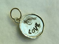 Ladybug LOVE hand stamped sterling silver necklace pendant | Lundela - Jewelry on ArtFire