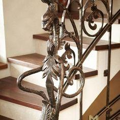 A wrought iron dragon - a detail Interior Railings, Interior And Exterior, Blacksmithing, Wrought Iron, Garden Design, Dragon, Chandelier, Design Ideas, Ceiling Lights