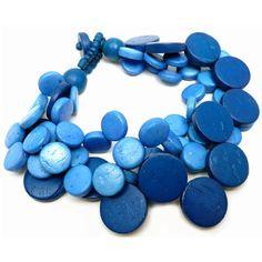 Cascade Bracelet Blue ($19) ❤ liked on Polyvore featuring jewelry, bracelets, charm jewelry, bracelet charms, bead bracelet, bracelet bead charms and charm bracelet