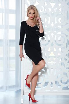 StarShinerS elegant midi black dress with a cleavage Product Label, Black Midi Dress, Classy, Mustard, Model, Sleeves, Cotton, Easter, Autumn